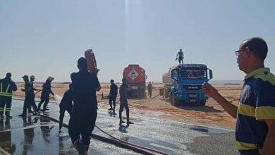 Photo of عاجل بالصور تصادم شاحنة نقل بتريلا لنقل السولار بطريق الداخلة -الخارجة