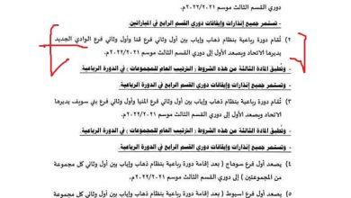 Photo of أول وثانى الوادى الجديد مع أول وثانى قنا فى ترقى صعود القسم الثالث ..ننشر الشروط